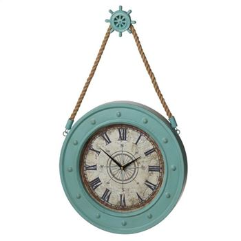 Picture of Nautical Light Blue Clock 16""
