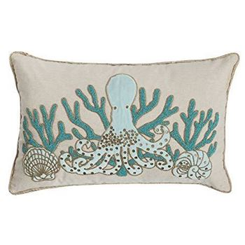 "Picture of Blue Octopus Beaded Pillow 14""x22"""