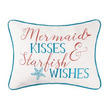 "Picture of Mermaid Kisses & Starfish Wishes Pillow 12""x 16"""