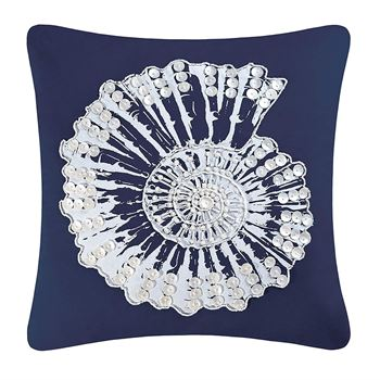 "Picture of Shell Embellishments Navy Beaded Pillow 18""x 18"""
