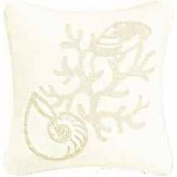 "Picture of Shell/Coral2 White Pillow 18""x18"""