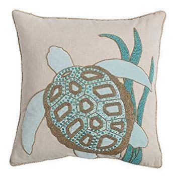"Picture of Blue Sea Turtle Beaded Pillow 18""x 18"""