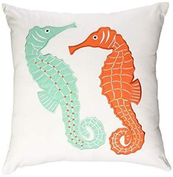 "Picture of Teal/Orange Seahorse White Pillow 18""x 18"""